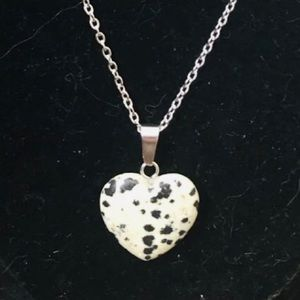Other - NEW Natural Stone Speckled Heart Pendant Necklace